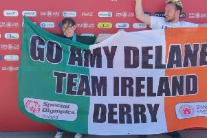 Derry girl, Amy Delaney celebrates winning gold at the World Games in Abu Dhabi