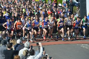 Runners set off at the start of the 2019 Hastings Half Marathon this morning. Picture by Justin Lycett