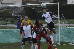 Action from Bexhill United's 1-0 defeat at home to Steyning Town during November