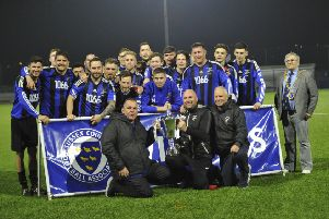 Hollington United celebrate after winning the Sussex Intermediate Challenge Cup alongside town mayor Cllr Nigel Sinden