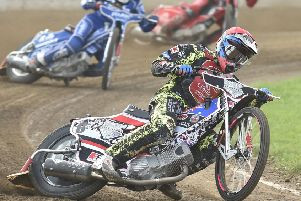 Aaron Summers leads the way for Peterboroughh Panthers against King's Lynn. Photo: David Lowndes.