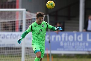 Charlie Horlock is set to return in goal for Hastings United's play-off semi-final as Louis Rogers will be suspended. Picture courtesy Scott White