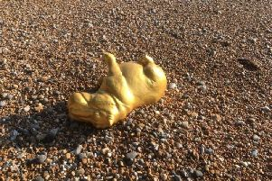 The gold-coloured hippo statue has since been recovered. Picture: Brett McLean