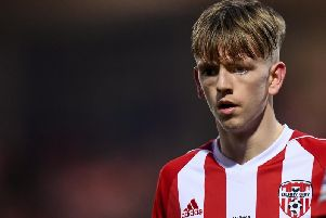 RUNNING MAN . . . Midfielder, Ciaron Harkin could be set for a return to the starting line-up for the visit of Cork City to Brandywell tonight.