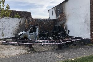 The kebab van totally destroyed by fire off The Square in Bishop's Waltham