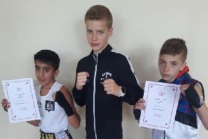Peterborough Police ABC fighters on the National Schoolboy Championship trail. They are Imraan Shirazi, Alfie Baker and Shae Gowler.