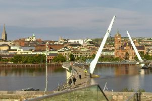 Derry city centre and the Peace bridge.