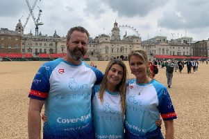 London Bridge terror attack survivor Holly Jones with the parents of the youngest victim, Sara Zelenak, Mark and Julie, as they prepare for a charity cycle ride to Paris in Sara's memory EMN-190521-160947001