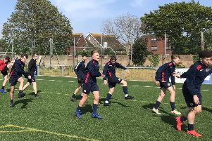 The Ark William Parker Academy year 10 boys' football team warming up ahead of its County Cup final