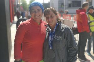 WEDDING ANNIVERSARY . . . Walled City marathon runner-up, Grace Kennedy-Clarke pictured with her wife, Tracey after Sunday's race.