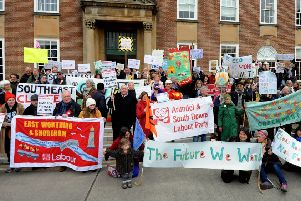 A climate change protest outside County Hall earlier this year