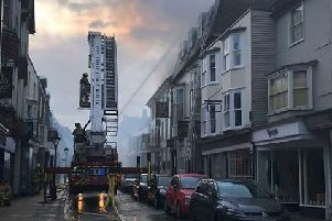 Fire crews at The George in Rye this morning. Picture: Megan Wright