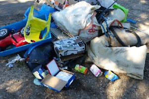 The rubbish dumped in Welham Lane, Great Bowden