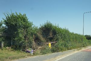 Floral tributes left at the scene of the collision