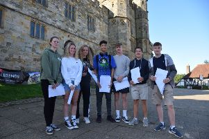Battle Abbey students with their GCSE results SUS-190822-100521001