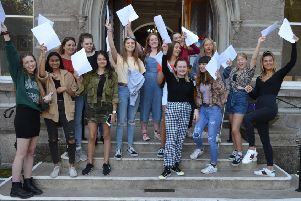Girls at The Towers Convent School celebrating their GCSE results