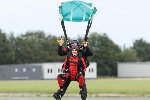 Amanda jumped out of a plane in Brackley to raise money for Globals Make Some Noise.