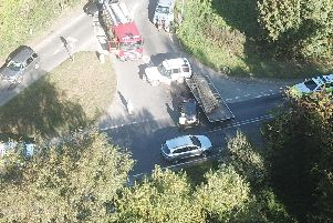 An aerial shot of the collision. Photo by Ian Phillips