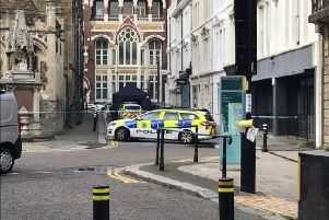 Two men have been jailed after another man was stabbed in Trinity Street in Hastings. Picture by Daniel Burton