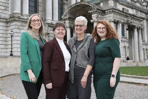 Jessica Murray, project coordinator and Vivian McConvey, CEO at Patient and Client Council are joined by service user, Jean Dunlop and Roisin Kelly, Senior Personal And Public Involvement Officer, Public Health Agency