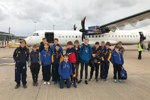 Midhurst Rugby Club's under-13s at the airport