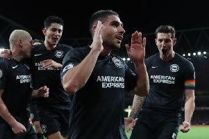 Neal Maupay celebrates scoring against Arsenal Picture: By Paul Hazlewood @BHAFC