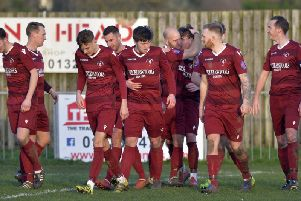 Little Common celebrate a goal against Eastbourne United on Saturday