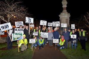 Protestors in December 2017 calling for a Bexhill town council. SUS-171218-215432001