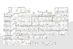 The whole building as a cross section. Picture: Beth Woolf