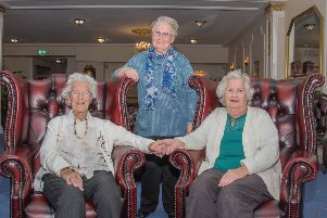 May Willis (left) with her daughter, Vera Smith (right) and longtime close friend, Elsie Gill, (centre back) SUS-200324-120554001