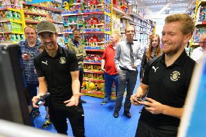 Danny Hylton and Luke Berry visited Smyths Toys to play Fifa 2019 and meet the fans. Photo: LTFC/Gareth Owen