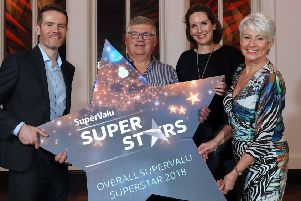 Andrew Smyth from Dungiven was awarded the title of overall SuperValu Action Cancer SuperStar 2018, as well as receiving the Fundraising SuperStar award at a glittering awards ceremony at Titanic Hotel, which recognised over 30 inspirational individuals from across Northern Ireland. Andrew received a �1000 cash prize and a �1000 donation to his chosen charity. Pictured (L-R): Brendan Gallen, Head of Marketing, Musgrave; Andrew Smyth, overall winner SuperValu Action Cancer SuperStar 2018; Ciara McClafferty, Trading Director, Musgrave; and host Pamela Ballantine.