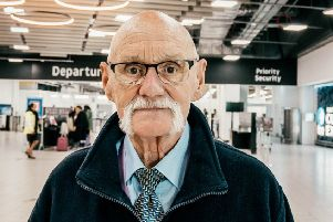 """Graham Smith who is working at London Luton airport - at the age of 77. See SWNS story SWCAairport; An OAP who came out of retirement to take a job as airport security says he will 'carry on until he dies'. Graham Smith is now Luton Airport's oldest employee at the age of 77-years-old working at the aviation security officer. Graham, from Dunstable, Beds., who has been working for the airport for just over ten years says the job makes him """"so happy"""".  He added: """"I'll keep working until I feel I can no longer do the job properly."""