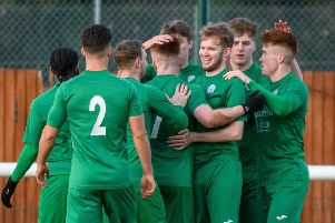 Biggleswade FC players celebrate. Picture: Guy Wills