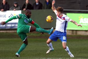 Biggleswade Town in recent action at AFC Rushden & Diamonds. Picture: Alison Bagley