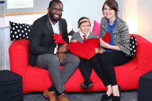 Joseph Quashie, from CALA Homes, Cerys and Christine Dunne