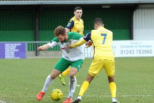 Theo Widdrington on the ball against Hornchurch - he scored the opener from the spot / Picture by Kate Shemilt