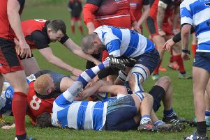 Hastings & Bexhill scrap for possession during their victory at home to Park House. Picture by Justin Lycett