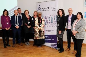 Banbury Chamber of Trade networking at Banbury and Bicester College, Activate Apprenticeships. Yasmin Kaduji with Chamber members and Nancy Buckley, Mike Craig and Amanda Watterson, Banbury College. NNL-190319-160820009