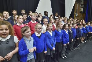 Youngsters take part in the Peterborough Sings! event