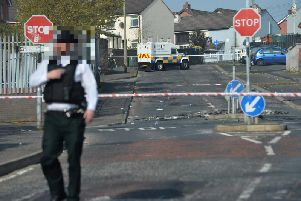 P.S.N.I. at the scene close to where Lyra McKee was shot dead.