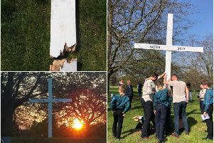 Top photo shows damage to cross, bottom left shows a photo of the cross after it was restored and right shows the raising of the cross on Good Friday. Photo submitted.