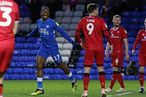 Posh striker Ivan Toney celebrates his equalising goal against Walsall in December.