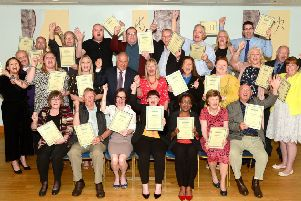 Members of community groups, charities and sports organisations across the Melton borough celebrate receiving cheques from the �10,000 Make It Happen funding scheme for 2019 at a presentation event at Ragdale Hall Spa''Ragdale Hall : Make it Happen 2019 'PHOTO LIONEL HEAP EMN-190517-112847001