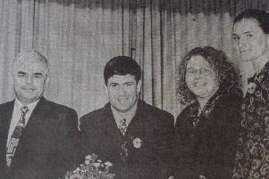 Straid YFC member Joanne Jenkins (second right) who won the Heron Cup at the recent YFCU public speaking final pictured with sponsors and representatives of YFCU. 1997