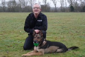 PC Wardell and retired Police Dog Finn