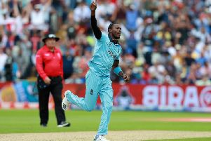 Jofra Archercelebrates taking the wicket of Glenn Maxwellduring the Semi-Final match of the ICC Cricket World Cup 2019 between Australia and England at Edgbaston. (Photo by David Rogers/Getty Images)