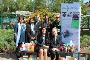 North Leamington School pupils and staff with their some of the food bank donations.