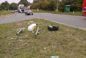 Debris left on the A43 near Brackley after a vehicle crashed into a bollard. Photo: Mark Morrell