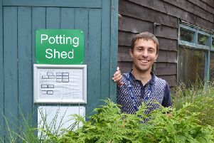 Peter at the potting shed.